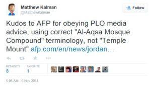 """Gratulation an AFP für die Beachtung des PLO-Medienhinweises und die Verwendung der korrekten """"Al-Aqsa-Moscheegelände""""-Terminologie statt """"Tempelberg"""""""
