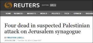Vier Tote bei mutmaßlichem palästinensischem Anschlag auf Jerusalemer Synagoge