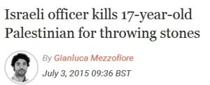 Israelischer Offizier tötet 17jährigen Palästinenser wegen Steinewerfens