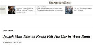 Jüdischer Mann stirbt, als im Westjordanland Steine auf sein Auto regnen
